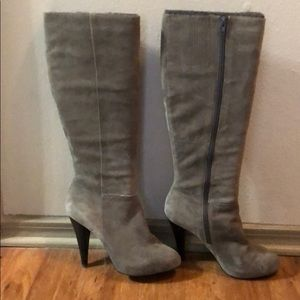 Knee High Gray Leather Suede Boots